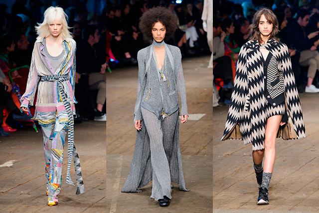 Missoni: The 100 per cent knitwear collection when together, made for an eccentric bohemian wardrobe, whether the striped suit jackets, the trailing scarves or oversized cardigans, it was a proud display of the house's strengths.