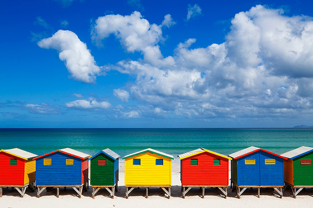 Muizenberg Beach, South Africa: Primary colours in a beach hut make this the ideal shoreline vista.