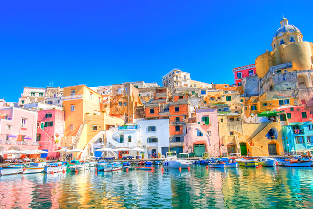 Procida, Italy: A paintbox of pastel hues makes this seaside town give new visual meaning to holiday posts.