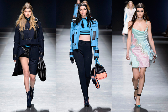 Versace: Only Donatella could throw together a litany of military-meets-trackstar-meets-ski bunny-meets-psychedelic trippie-meets-biker babe references and still have it come together with undeniable sex-appeal and hyper femininity.