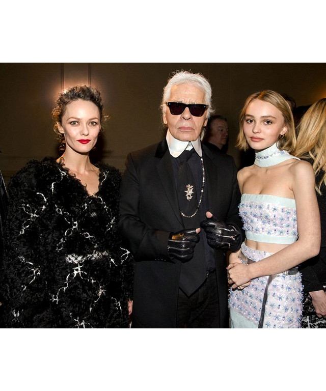 Vanessa Paradis, Karl Lagerfeld and Lily-Rose Depp