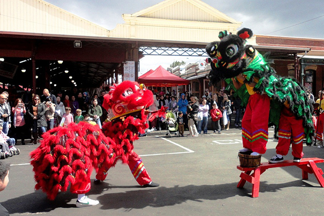 Queen Victoria Market Melbourne: Chinese New Year sees Queen V's Market alight with illuminated totems, lion and dragon dancing every day until Feb 20. The finale of the festivities (Feb 20) includes a red lantern festival and Asian food hawker market.
