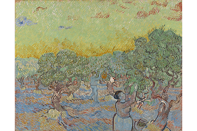 Vincent van Gogh, Olive grove with two olive pickers December 1889 Saint-Rémy oil on canvas 73.3 x 92.2 cm Kröller-Müller Museum, Otterlo © Collection Kröller-Müller