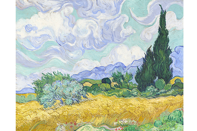 Vincent van Gogh, A wheatfield, with cypresses early September 1889 Saint-Rémy oil on canvas 72.1 x 90.9 cm National Gallery, London Bought, Courtauld Fund, 1923