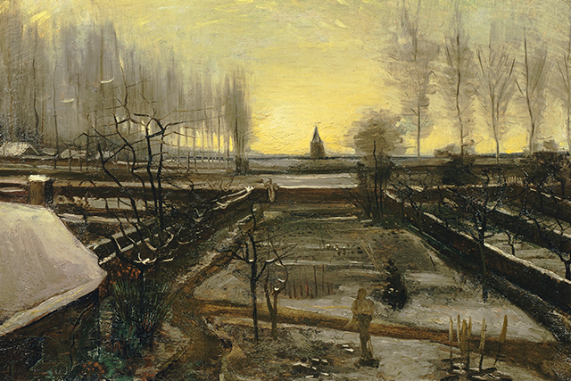 Vincent van Gogh, The parsonage garden in the snow January 1885 Nuenen oil on canvas on wood panel 53.0 x 78.0 cm Hammer Museum, Los Angeles The Armand Hammer Collection