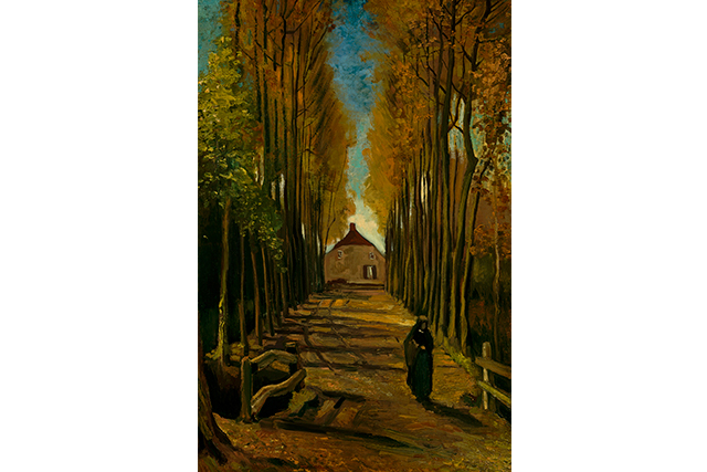 Vincent van Gogh, Avenue of poplars in autumn late October 1884 Nuenen oil on canvas on wood panel 99.0 x 65.7 cm Van Gogh Museum, Amsterdam Purchased with support from the Vincent van Gogh Foundation and the Rembrandt Association