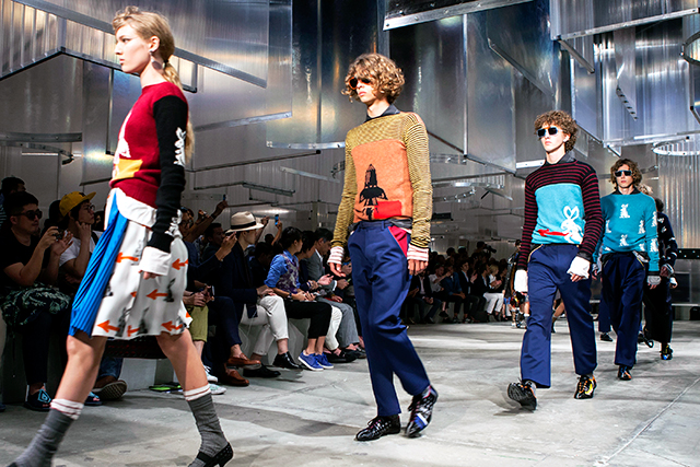 Race cars, rockets and rabbits: Prada's menswear and womenswear show