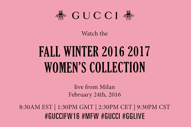 Live from Milan: watch the Gucci A/W '16 show
