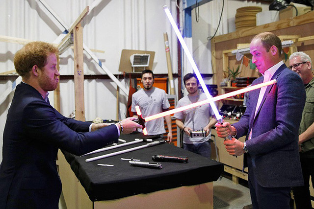 Prince Harry and Prince William geek out on set of Star Wars