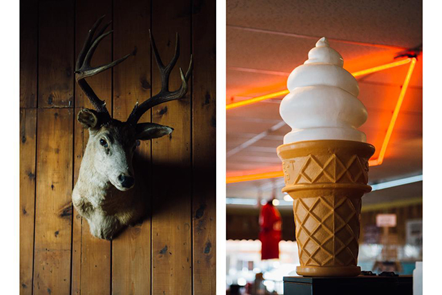 1.	L: Buck bust inside the Kiana Lodge in Poulsbo, WA. R: Ice cream cone model, inside the Twede's Cafe which doubled as the RR Diner in the show.