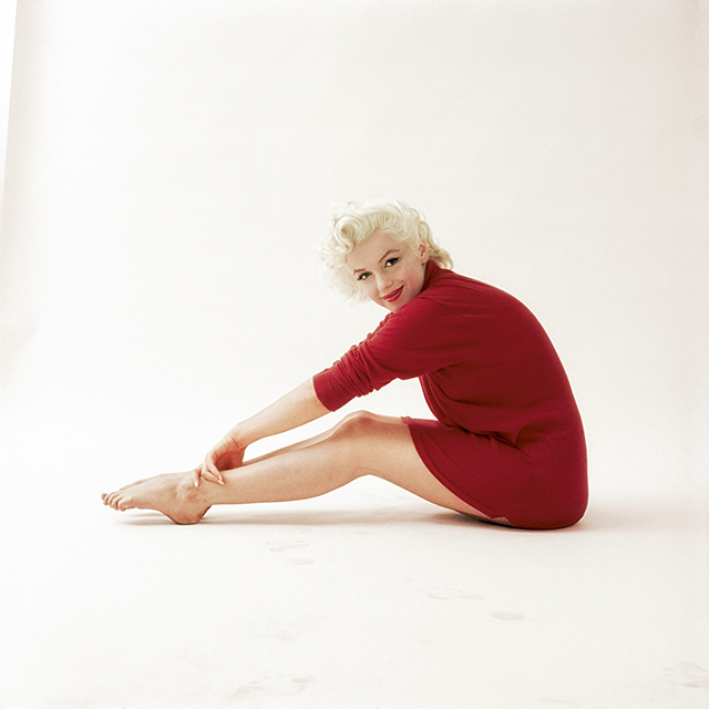 "From the Red Sweater series in 1955. The red sweater was actually one of Milton's props.<p><span style=""font-size: 17px;"">(Photo: Milton H. Greene &copy; 2017 Joshua Greene. From The Essential Marilyn Monroe. Photograph by Milton H. Greene.)</span></p>