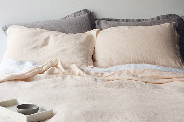 R&R Bedding French Linen Duvet Cover in Just Peach, $180