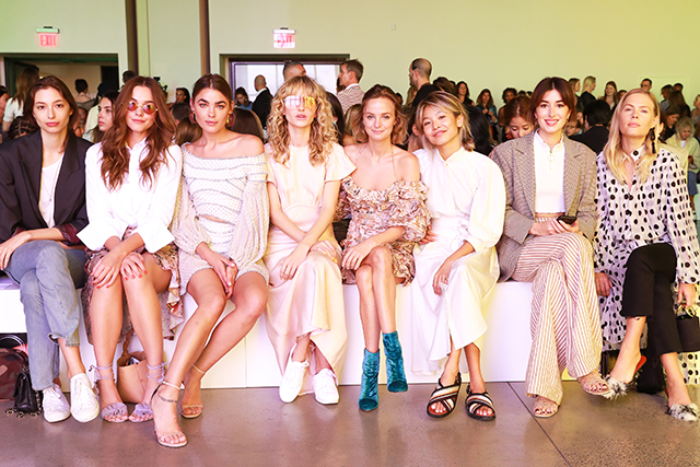 Front row at the show: Alexandra Agoston, Bambi Northwood-Blyth, Annabella Barber, Nadia Fairfax, Yan Yan Chan, Carmen Hamilton and Jessie Bush