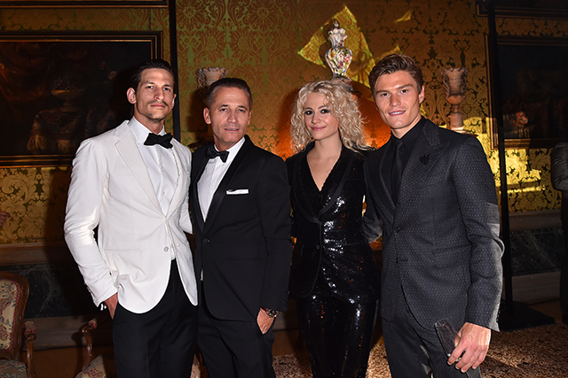 Jarrod Scott, Omega CEO Raynald Aeschlimann, Pixie Lott and Oliver Cheshire