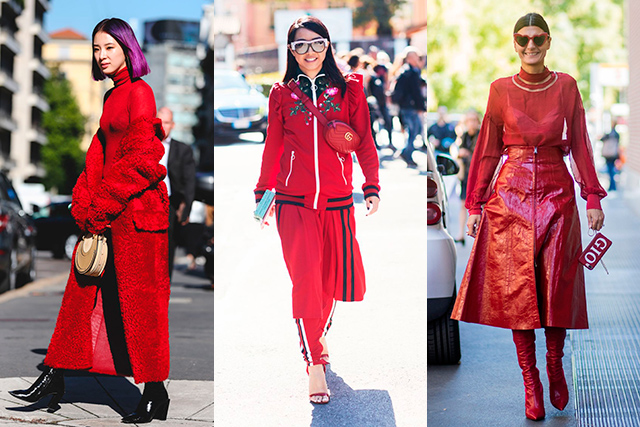 5. The new street style hue is red haute Move over, Millennial Pink, head-to-toe rouge is the colour of Milan Fashion Week. It's red or dead.