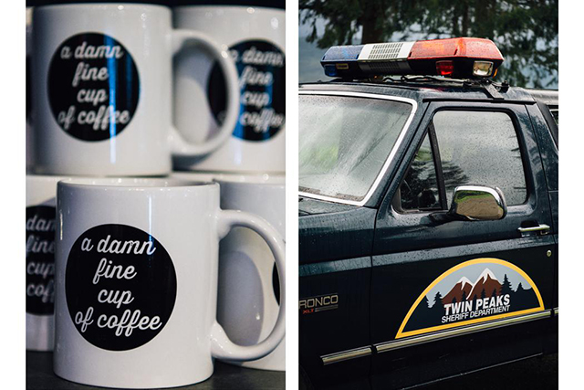"9.	L: Coffee cups at the gift shop of the Salish Lodge, printed with Agent Cooper's signature one liner ""a damn fine cup of coffee"". R: A replica of the police truck used in the show."