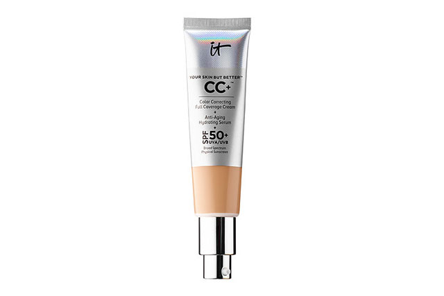For full coverage: IT Cosmetics Your Skin But Better CC cream with SPF 50+