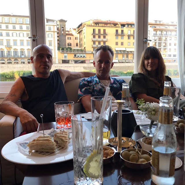 Maurice Terzini of Ten Pieces, Mikey Nolan (Double Rainbouu) and Claire at Hotel Lungarno.