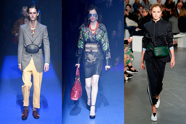 7. Runway style cue to try now: Tourist chic A distant cousin to the bum bag, the belt bag, as seen at Gucci (left and middle) and Sportmax (right) is practical, functional, safety-conscious and chic. How many It-bags can claim all that?