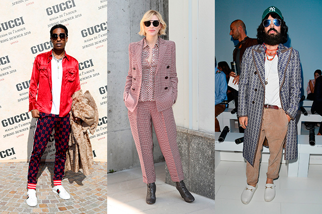 8. Serious FRow At Gucci, it was Dakota Johnson, Petra Collins and A$AP Rocky; at Giorgio Armani, Cate Blanchett making a serious case for the masculine suit; Fendi and Moschino championed reality mums Kris Jenner and Yolanda Hadid, respectively and at Versace – Gucci designer Alessandro Michele sat front row.