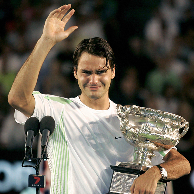 He's also unafraid to show emotion, and is known to shed a few tears after a big win, like this Australian Open victory in 2006.