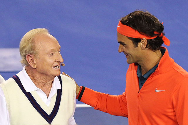 "Lastly, he has a soft spot for Aussie tennis greats. ""I love that generation of players with Tony Roche, Rod Laver, Ken Rosewall, Roy Emerson,"" Federer said. ""We got to milk a cow together [with Emerson] in Gstaad. We go way back."" You can understand why he cried when Rod Laver (pictured) awarded him his Australian Open trophy in 2006."