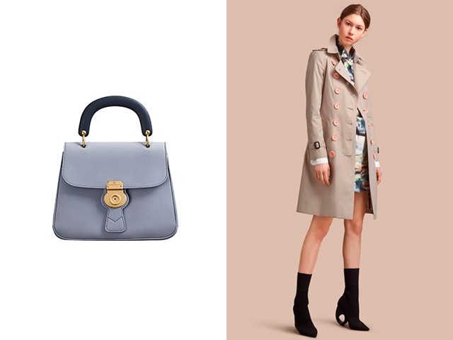 The Medium DK88 Top Handle Bag and Resin Button Cotton Gabardine Trench Coat