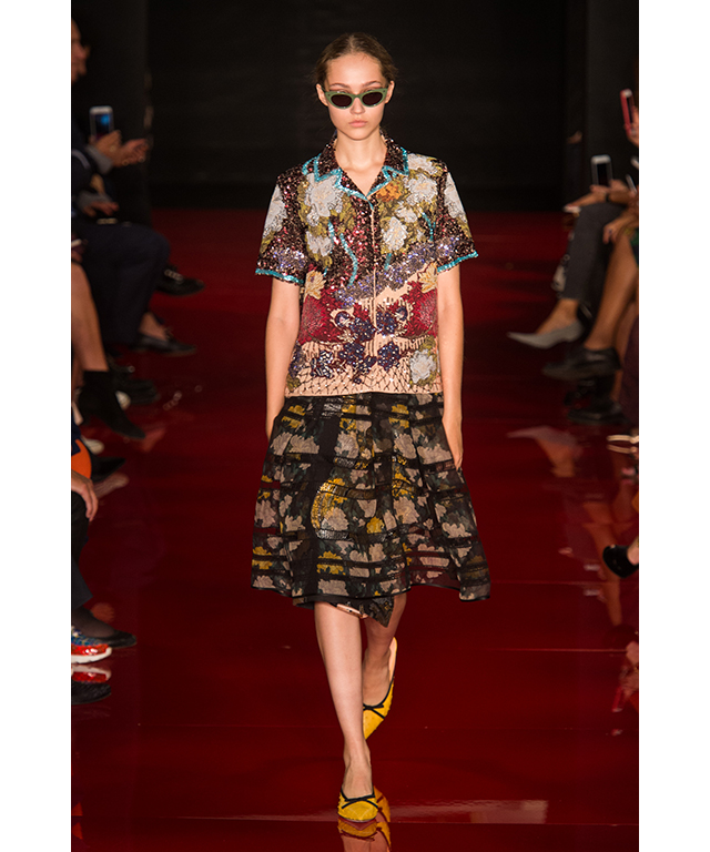 As with van Noten, contrasting prints were explored with jacquard and watercolour florals.