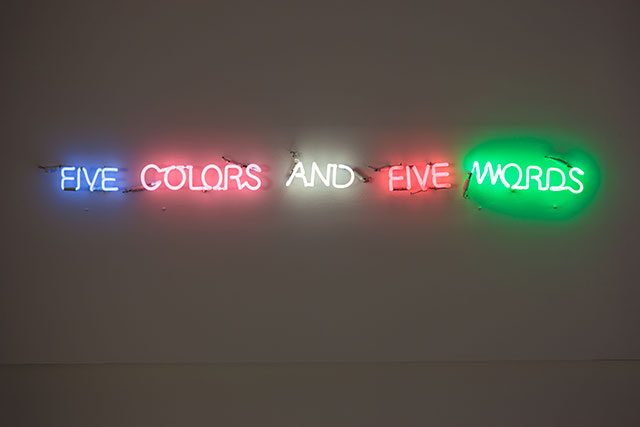 "Joseph Kosuth<p><i>'Five Colors And Five Words', 1965. Neeon. Image via <a href=""http://www.artipelag.se"" target=""_blank"">artipelag.se</a></i></p>