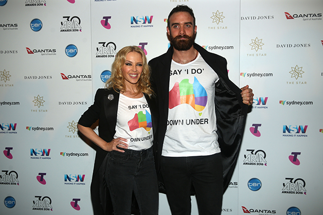 "4. Kylie Minogue and Joshua Sasse. The national treasure, who has long been a poster girls for the LGBTQI community, walked the red carpet with fiance Joshua Sasse wearing T-shirts emblazoned with 'Say 'I Do' Down Under'. On top of that, as she introduced Troye Sivan's performance, she used the moment to reiterate her position. ""We're here to introduce a shining light in the Australian music industry but were also here to say thank you to everyone who supported Josh's campaign for equality,"" she said.  ""This is more than just a movement, this is people's lives and we want to say to every single member of the LGBT community: 'You are not alone. You have a voice',"" Joshua Sasse added. ""And if we all stand together we can bring Australia back on the right side of history and make 2017 the year that we all say 'I do' Down Under."""