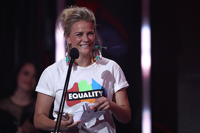 "6. Sia via Angie Greene. Even if she wasn't physically there to collect her Female Artist of the Year ARIA, Sia sent marriage equality campaigner Angie Greene up on stage to collect her award – a statement in itself. Greene made the point even clearer by stating that Sia had asked her accept the honour on behalf of ""every single non-hetero and gender-diverse person, who can currently not marry the person that they love in this country."""
