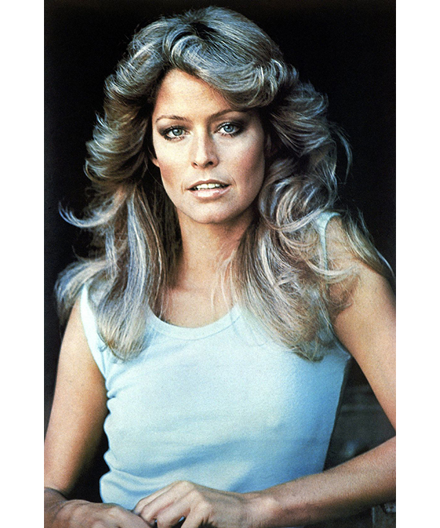 "On Farah Fawcett: ""Farah Fawcett defined style in the 70's with a brilliant smile, legendary hair, high-waisted jeans and a disdain for wearing bras. Her fashion style was super cool and relaxed and still remains modern today – high-waisted jeans paired with blouses, tee shirts or a simple knit."""