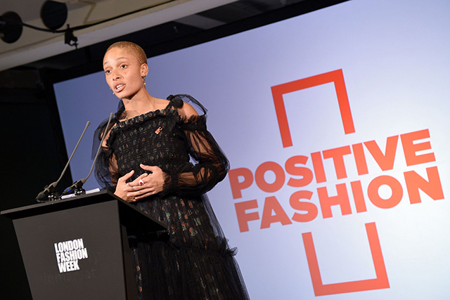 "Model/activist Adwoa Aboah (founder of GurlsTalk.com) kicked off her tenure as the British Fashion Council's positive fashion ambassador for health and diversity with a rousing speech at the opening of London Fashion Week. ""How can our industry better represent the reality of our larger community and provide our next generation a proper example of what they see around them every single day?"" the model asked."