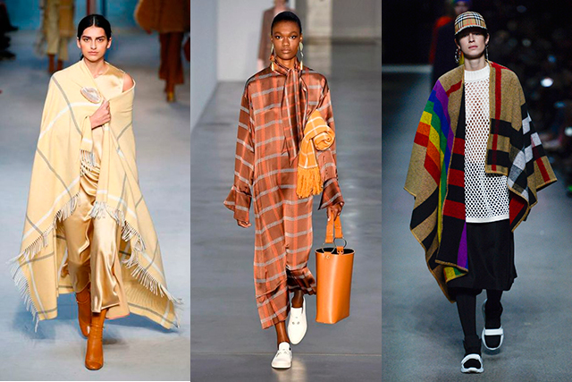 Perhaps in a response to trying times, comfort-dressing reigned and blanket statements were made across the collections (think: Burberry, Mother of Pearl and Roksanda). The best part of this new trend? Just grab the throw from your couch and go – a new look bang on trend.