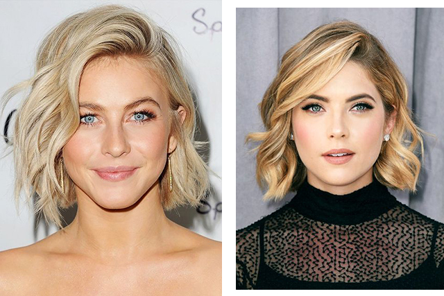 Celebrity bob cut hair inspo: Julianne Hough (image: Pinterest/Joyann King), Ashley Benson (image: Pinterest/Laurie Mayer)