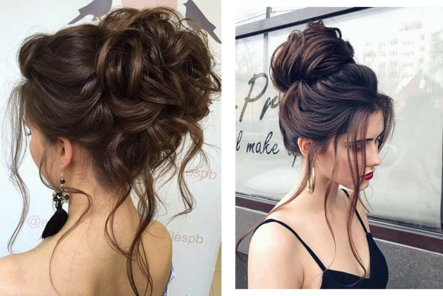 Bridal hair: messy up dos. Images: Pinterest/Lyndsey, Pinterest/Tatiana Makhonina
