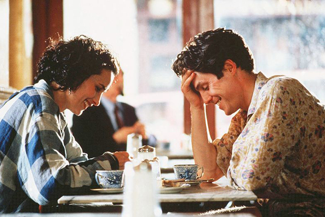 'Four Weddings and a Funeral': another Hugh Grant rom-com written by Richard Curtis (he also wrote 'Notting Hill') – meaning the dialogue and supporting cast is so amusing you almost forget there's a love story at the heart of the film.