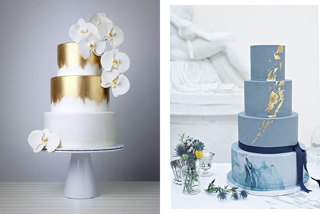 Trending wedding cakes: metallic decorations. Images: Pinterest/Kara's Couture Cakes, Pinterest/onefabday.com