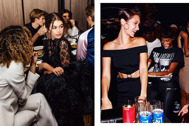 Say no to social events if you're tired and any events which don't leave you feeling energised and inspired. (Images: @kaiagerber, @bellahadid)