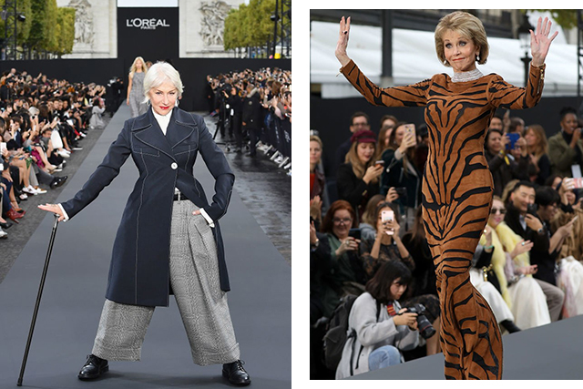 Helen Mirren and Jane Fonda flex advanced-style fierceness on the runway at Le Defile L'Oreal Paris staged on the Champs Elysee