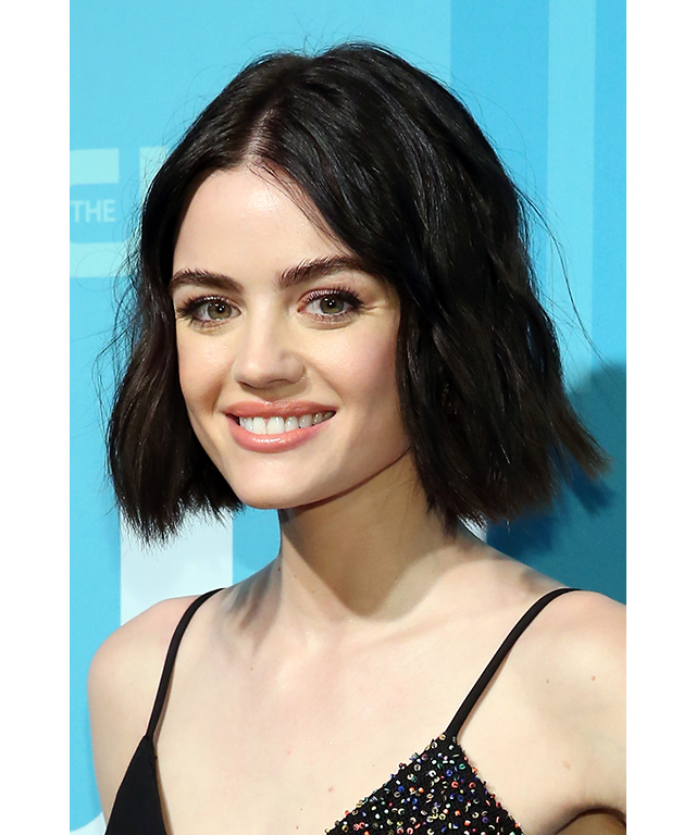 Celebrity French girl hair inspo: Lucy Hale, who isn't French but rocks a chic Parisian-style 'do (image: Getty)