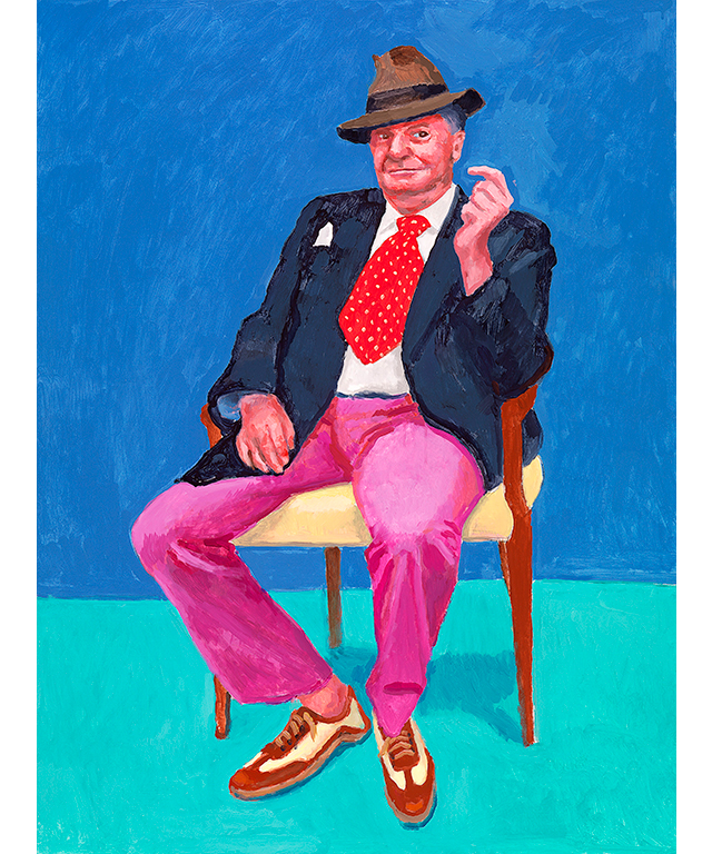 David Hockney English 1937– 'Barry Humphries, 26th, 27th, 28th March 2015' acrylic on canvas 121.9 x 91.4 cm Collection of the artist © David Hockney. Photo Credit: Richard Schmidt
