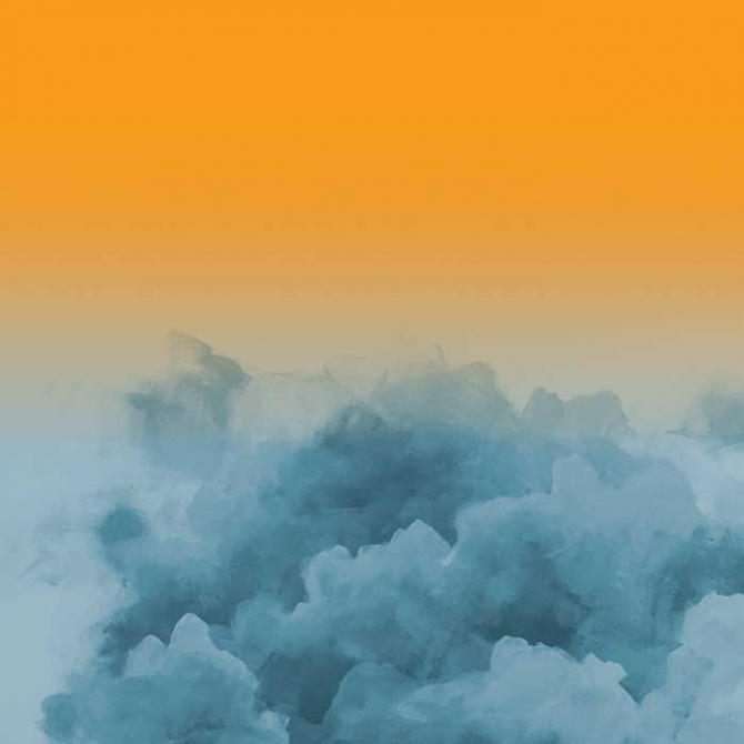 Digital and acrylic remix clouds, orange and blue