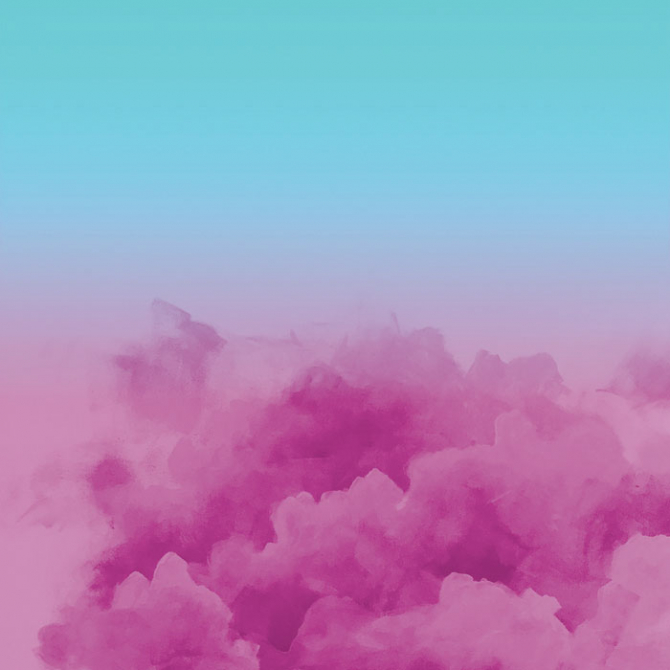 Digital and acrylic remix clouds, pink and blue