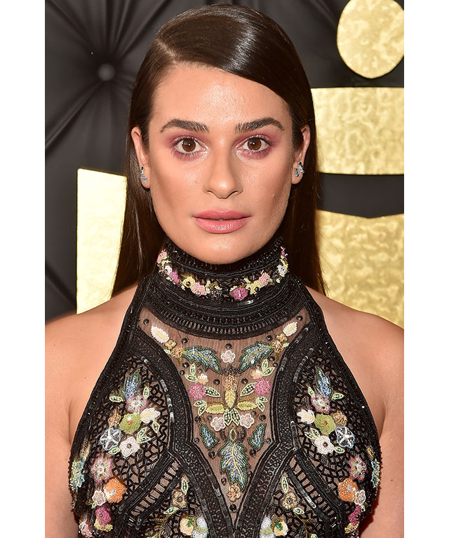 Lea Michele's smouldering pink shadow