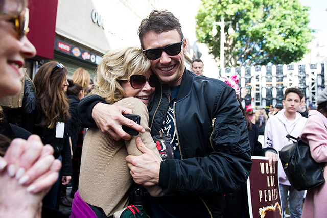 It wasn't just a female protest: many guys joined in, such as James Franco, who couldn't resist as cuddle from Jane Fonda in LA.