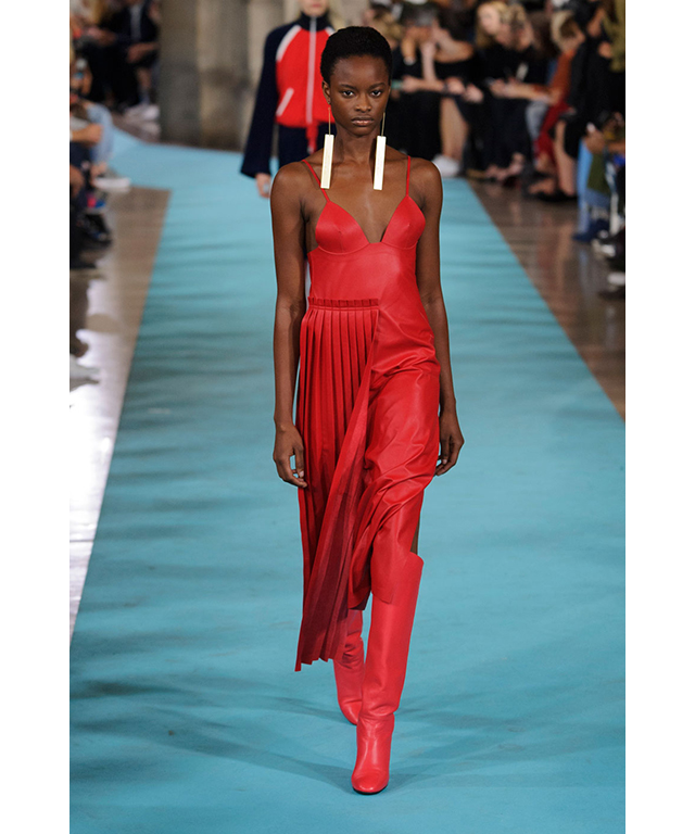 Off-White: draped and pleated in fire-engine red