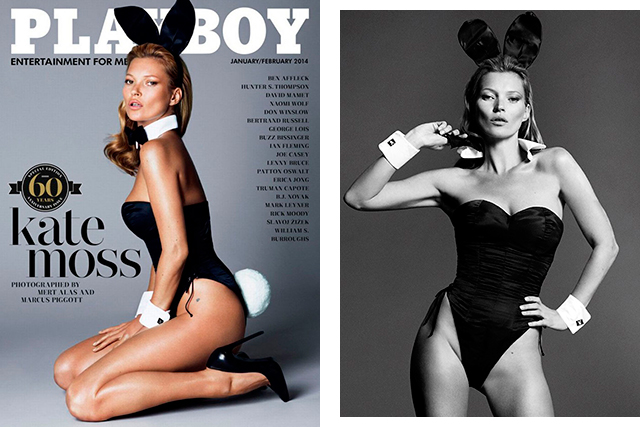 8. She celebrated her 40th by posing for Playboy. With countless magazine covers to her name, there aren't many supermodels game enough to don a bunny suit on their 40th. Except Kate.