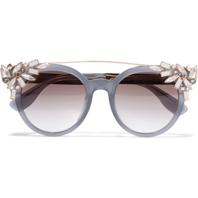Jimmy Choo crystal-embellished sunglasses, $724 at Net-a-Porter.com.