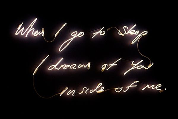 "Tracey Emin<p><i>'When I Go To Sleep I Dream Of You Inside Me' 2003. White neon. Image via <a href=""http://www.mutualart.com/"" target=""_blank"">mutualart.com</a></i></p>